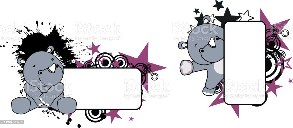 cute baby rhino copy space set royalty-free cute baby rhino copy space set stock vector art & more images of animal