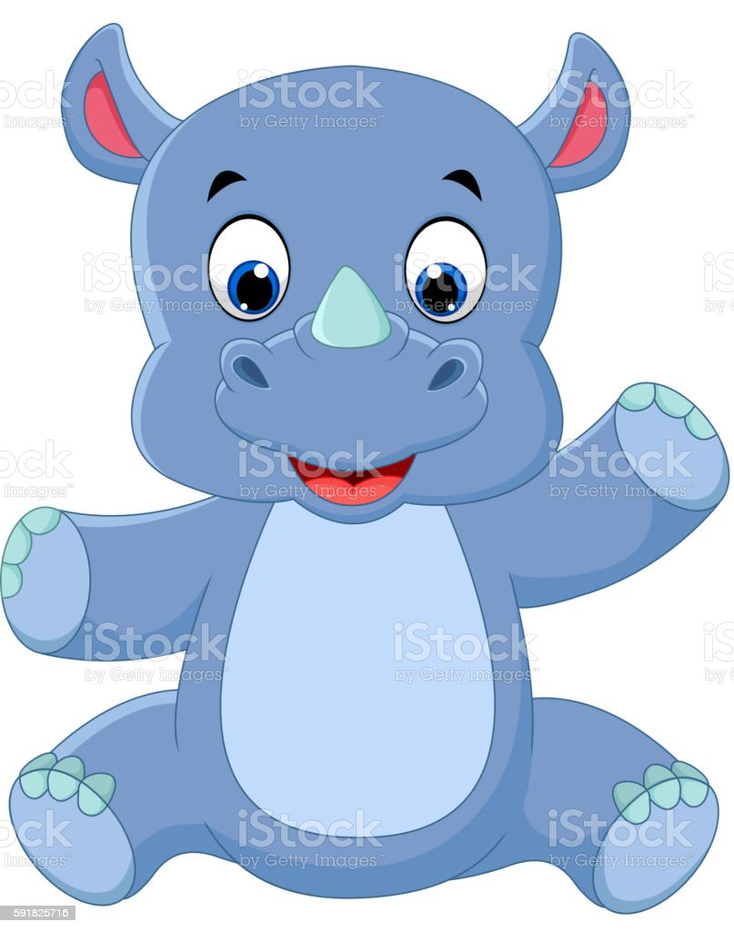 cute baby rhino vector art illustration