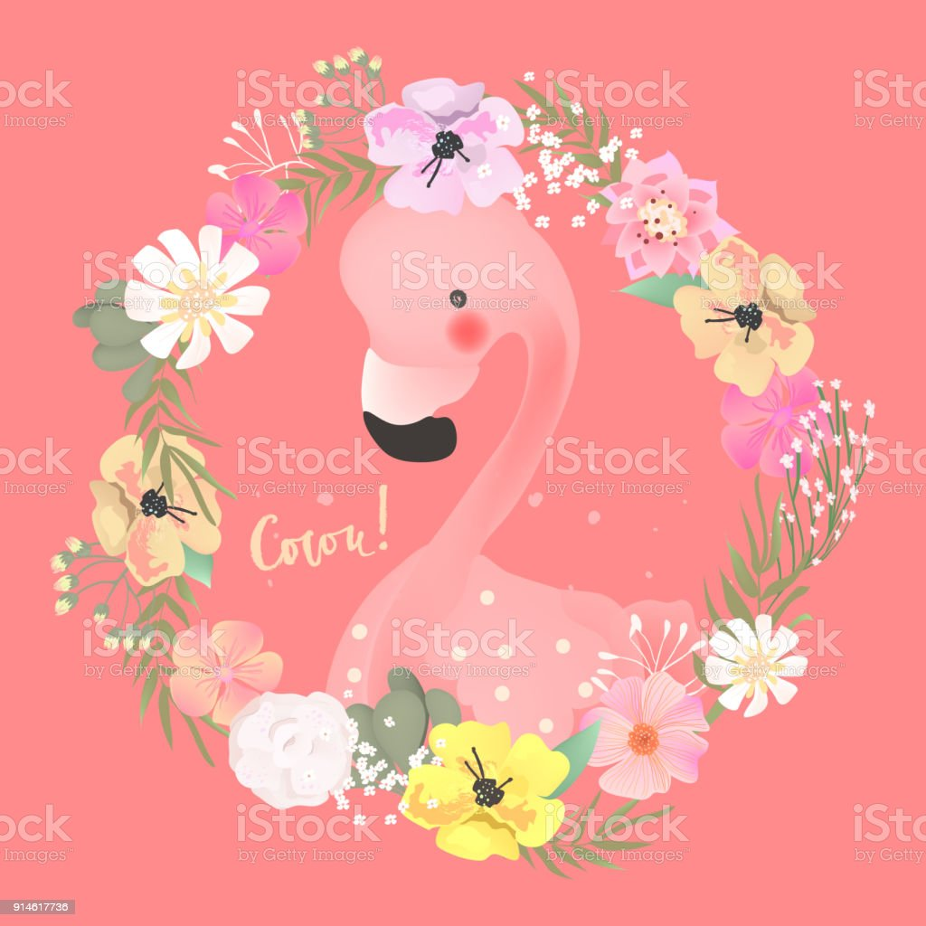 Niedliche Baby Safari Tiere Flamingo Vogel Im Schönen Blumen ...