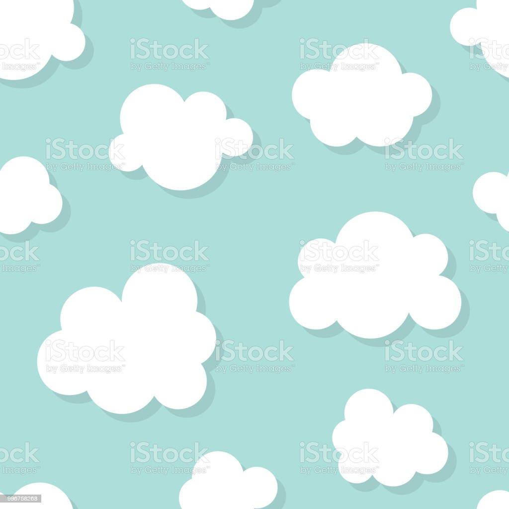 Niedliche Baby Musterdesign Mit Blauer Himmel Mit Weißen Wolken ...