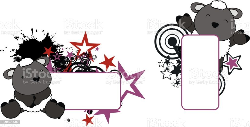 cute baby sheep copy space set royalty-free cute baby sheep copy space set stock illustration - download image now