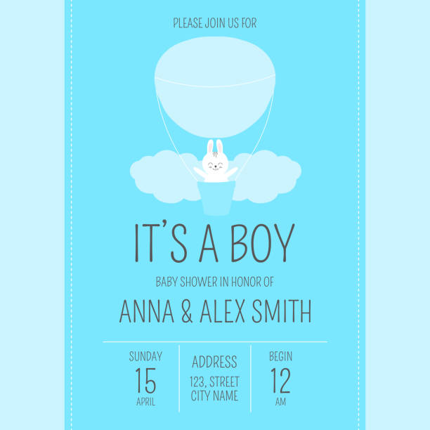 Cute baby shower boy invite card vector template. Cartoon animal illustration. Blue design with little bunny, clouds and air balloon. Kids newborn poster or birthday party invitation background. vector art illustration