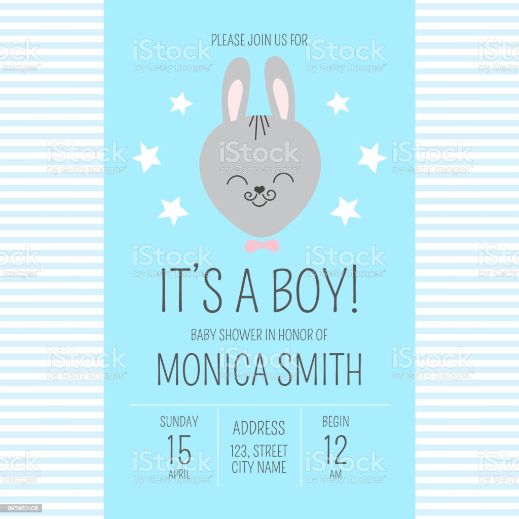 Cute Baby Shower Boy Invite Card Vector Template Cartoon