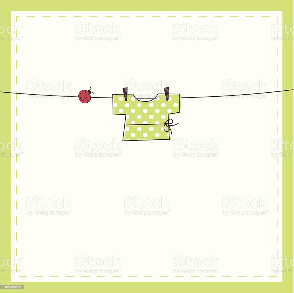 Cute baby shower card with copy space vector art illustration