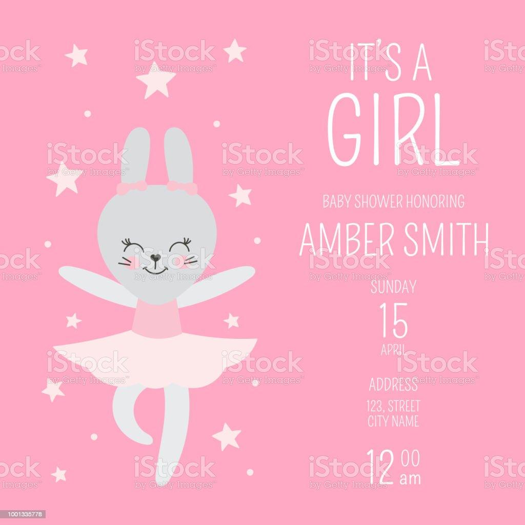 Cute Baby Shower Girl Invite Card Vector Template Cartoon Animal