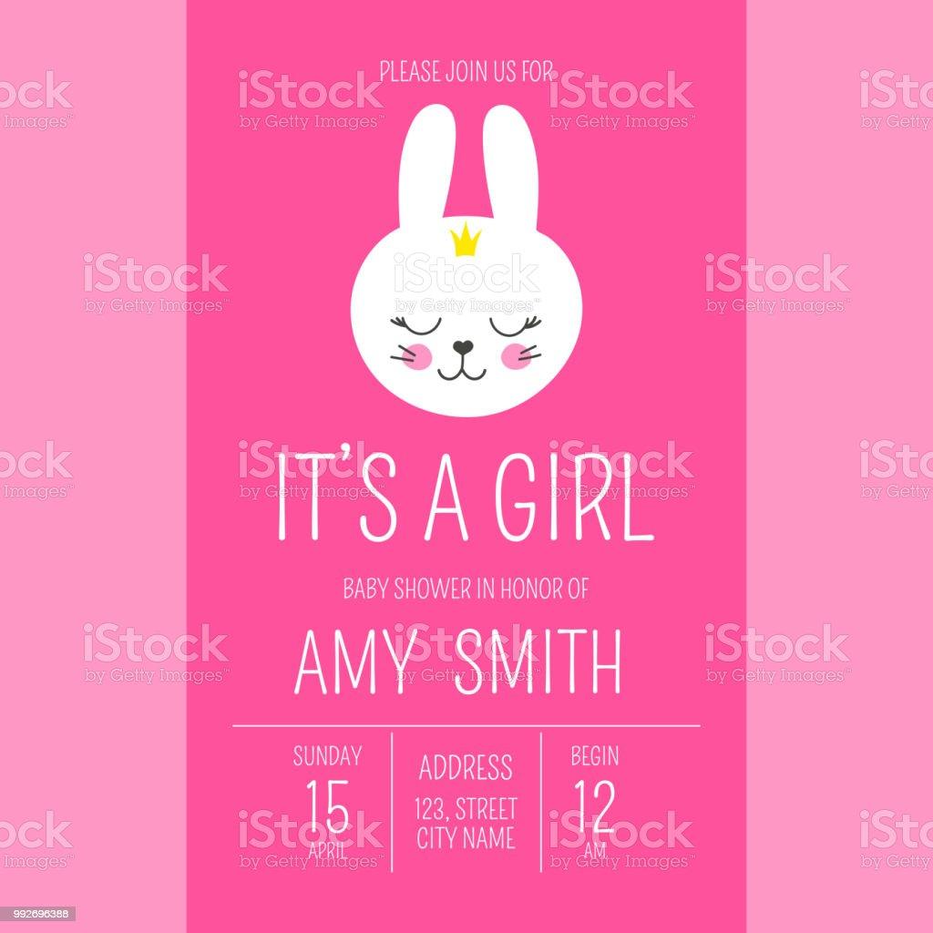 Cute Baby Shower Girl Invite Card Vector Template Cartoon