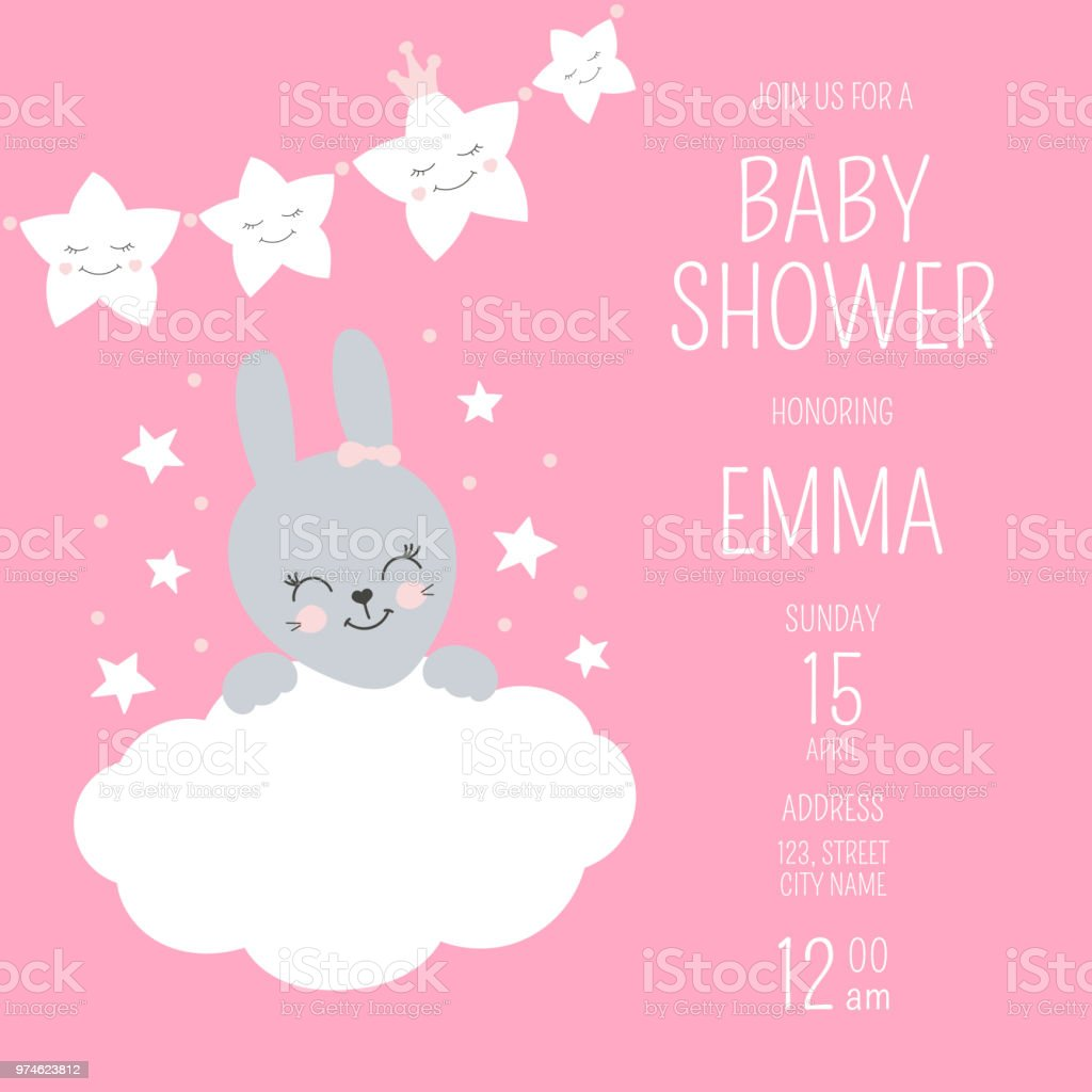 Cute Baby Shower Girl Invite Card Vector Template Pink Design