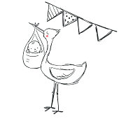 Cute hand drawn illustration with the stork holding the little baby in his mouth with party balloons isolated on white. Cute baby shower vector illustration. Perfect for postcard, poster, t shirt