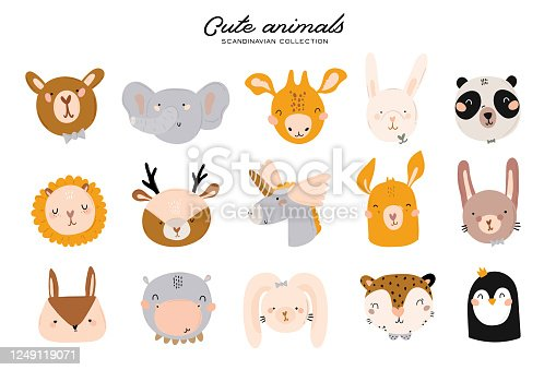 istock Cute baby shower in scandinavian style including trendy quotes and cool animal decorative hand drawn elements. 1249119071