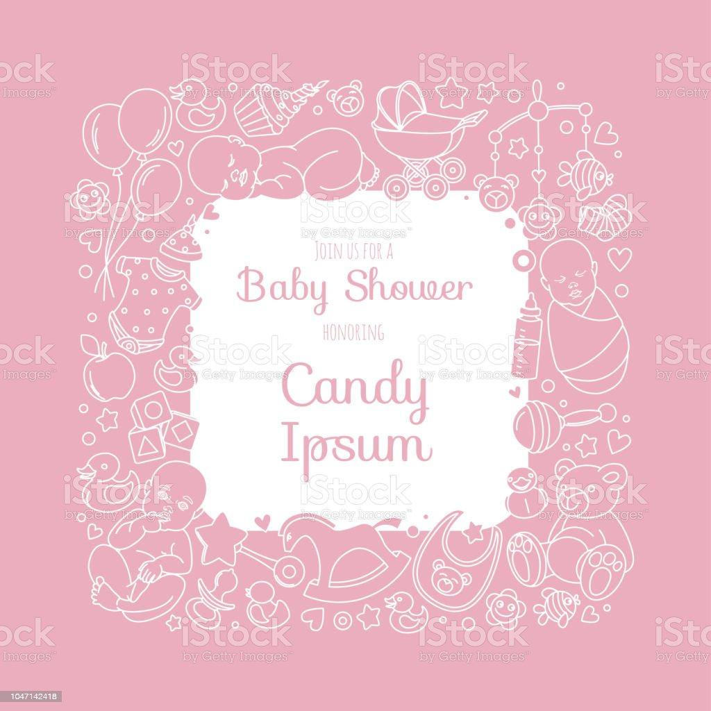 Ilustración De Tarjeta De Lindo Bebé Ducha Invitación Para