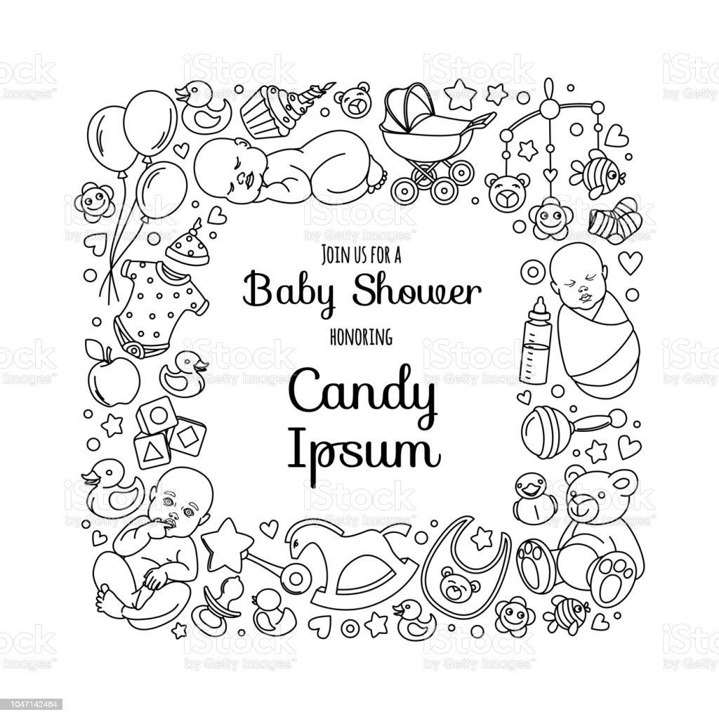 4206ad66a Cute Baby Shower Invitation Card For Newborn Boy Girl Party Stock ...