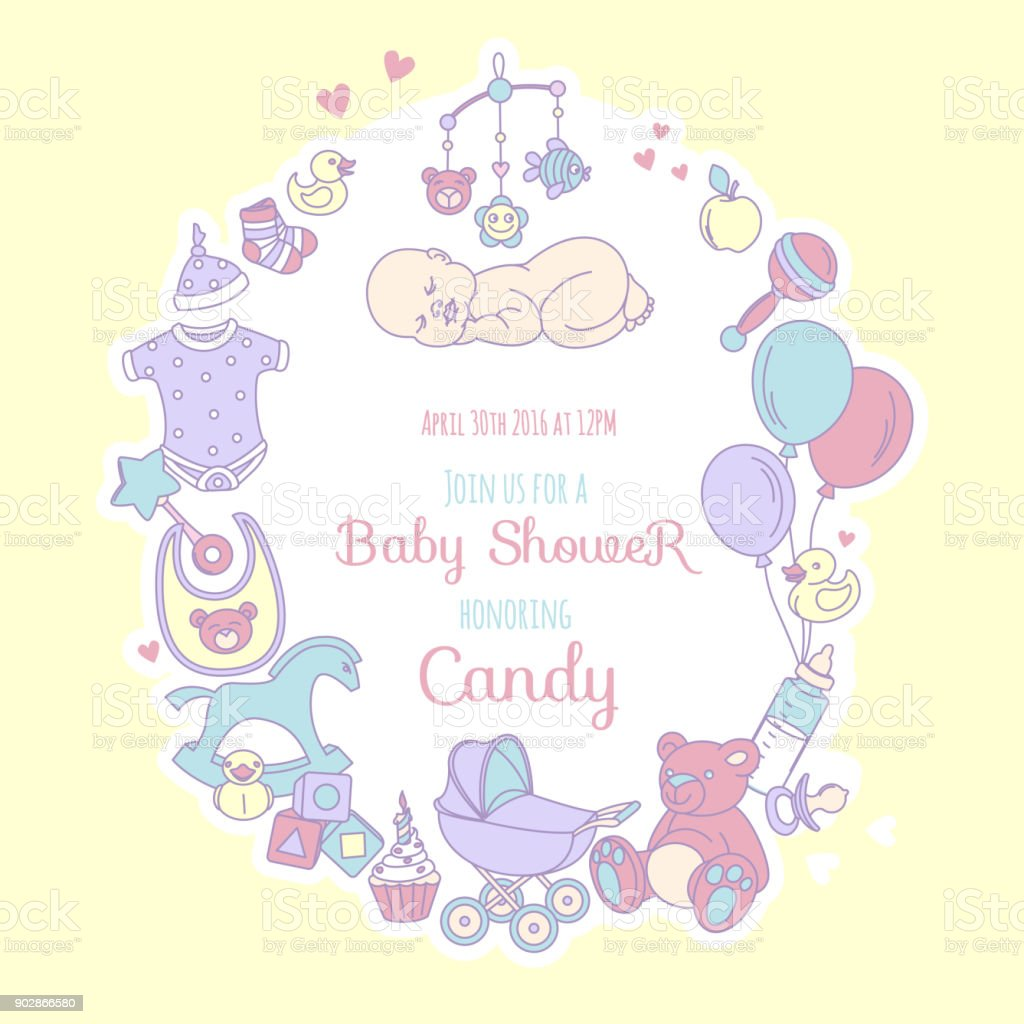 Cute Baby Shower Invitation For Boy Or Girl Party Invitation Stock