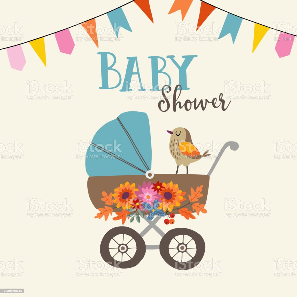 Cute Baby Shower Invitation Or Birthday Card With Bird Baby
