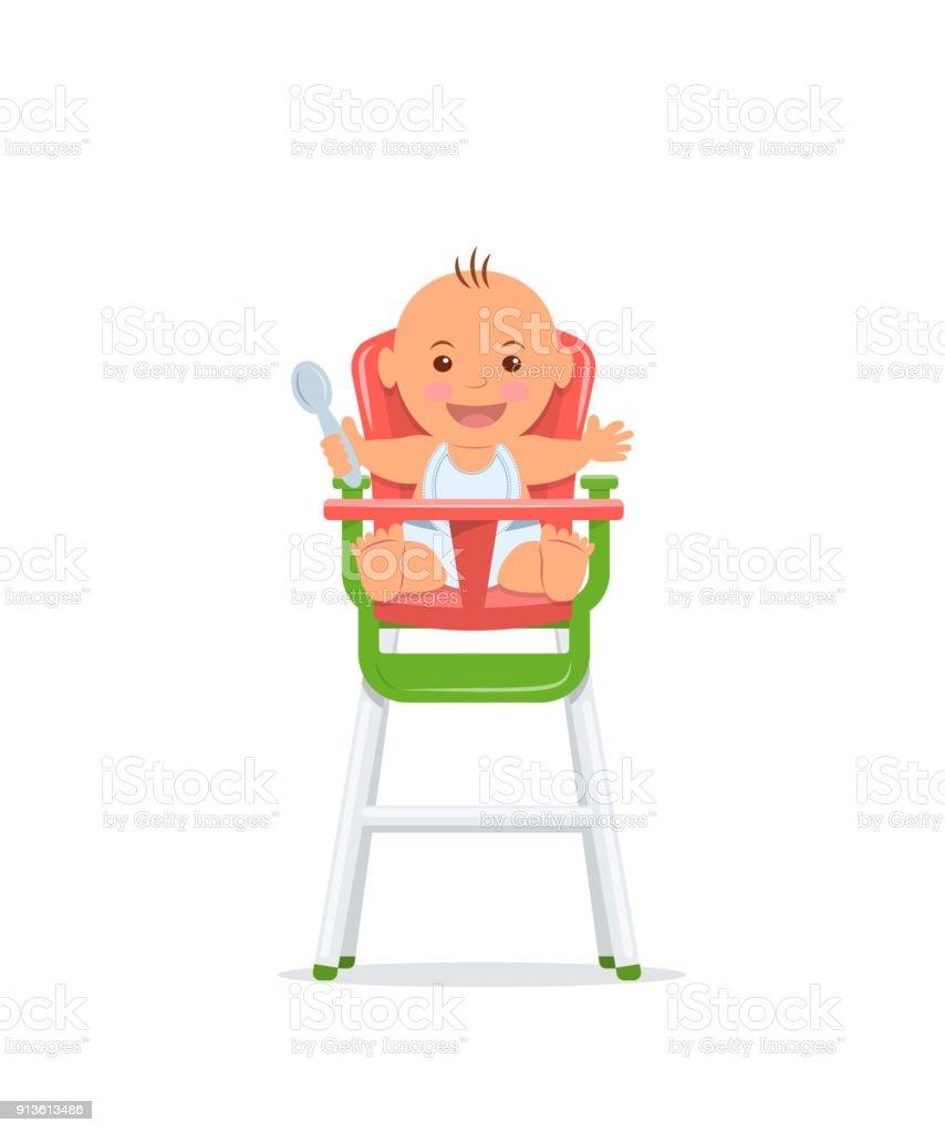 Niedliche Baby Sitzt Auf Einem Hohen Stuhl Und Hält Einen Löffel