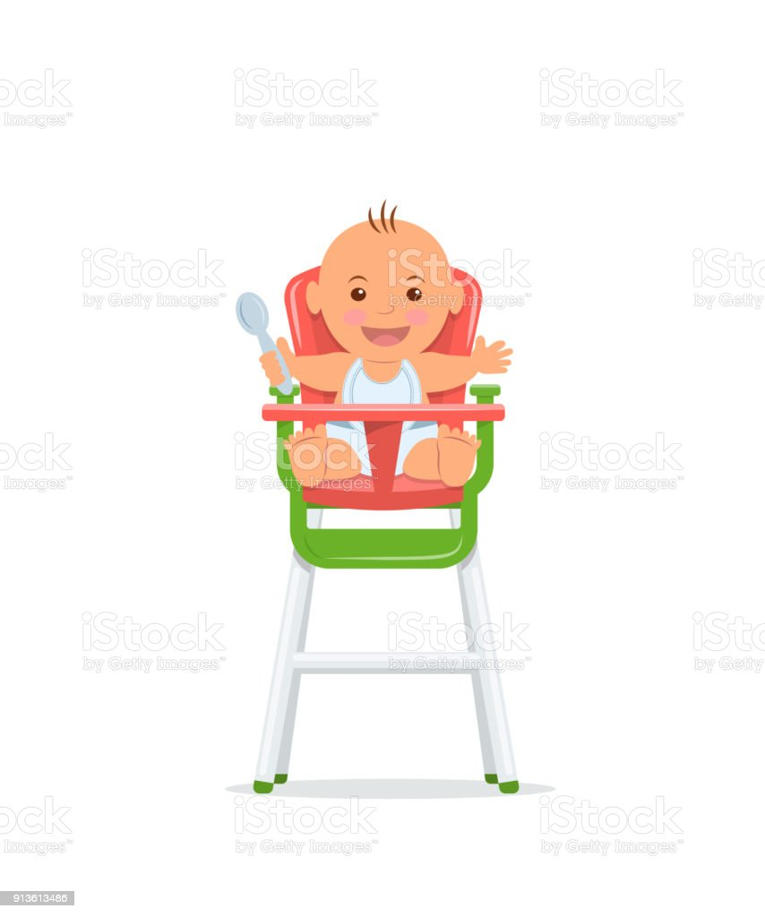 Cute baby sits on a high chair and holds a spoon. Baby healthy feeding concept. Vector illustration in flat style. vector art illustration