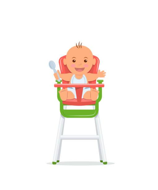 niedliche baby sitzt auf einem hohen stuhl und hält einen löffel. baby gesunde fütterung konzept. vektor-illustration im flachen stil. - wickeltisch stock-grafiken, -clipart, -cartoons und -symbole