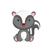 Cute baby skunk sitting isolated on white background. Adorable animal character for design of album, scrapbook, card, invitation on baby shower, party. Flat cartoon colorful vector illustration.