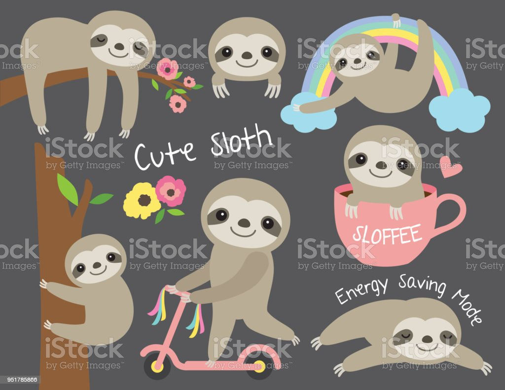 Cute Baby Sloth Vector Illustration Set vector art illustration
