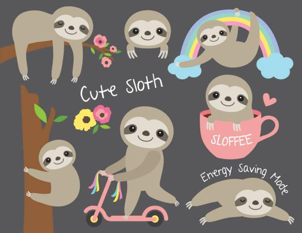stockillustraties, clipart, cartoons en iconen met schattige baby luiaard vector illustratie set - lazy