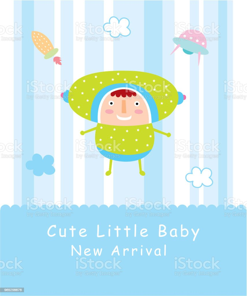 cute baby space boy greeting card royalty-free cute baby space boy greeting card stock illustration - download image now
