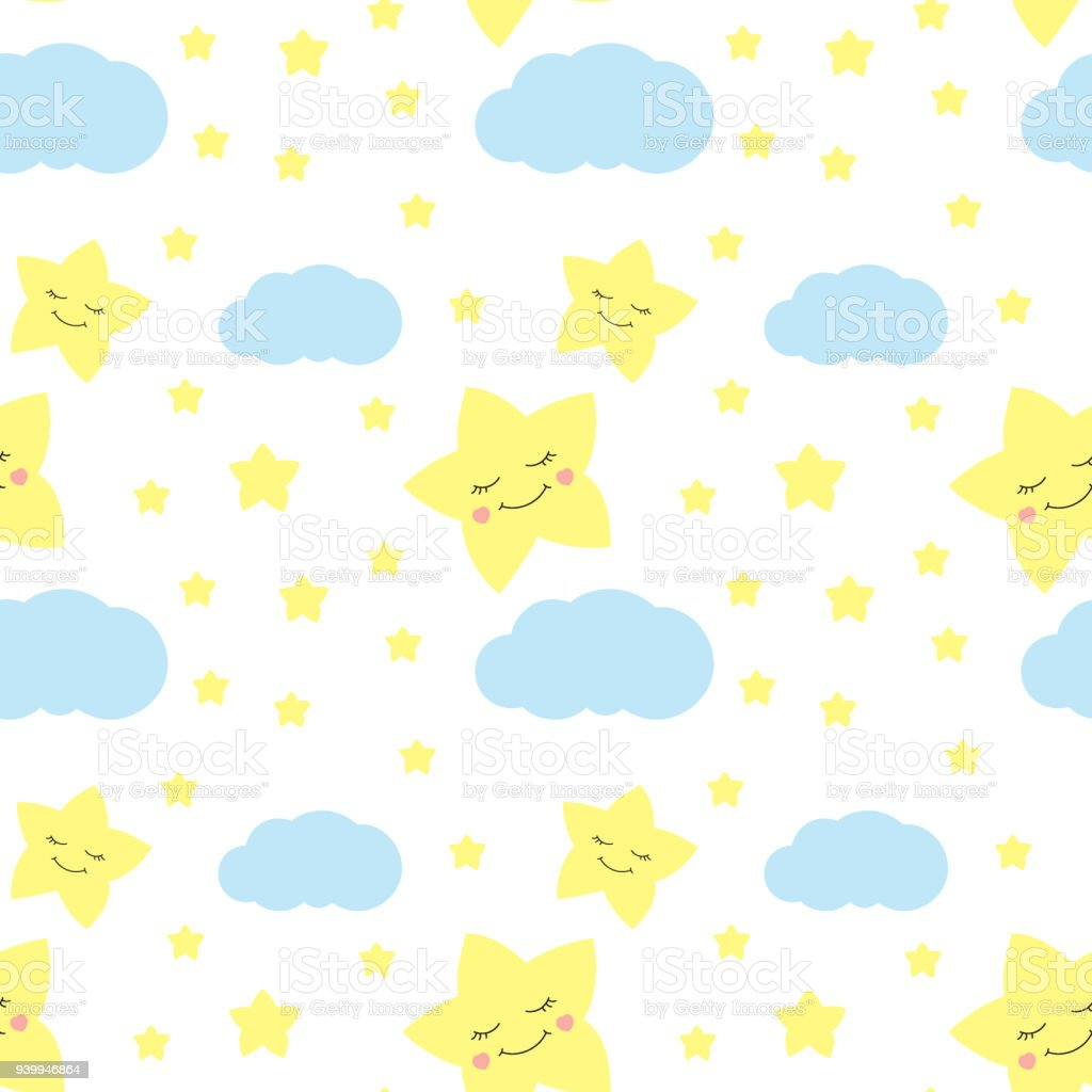 Cute Baby Star Pattern Vector Seamless Kids Print With Eyelash Stars ...