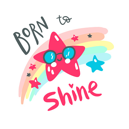 Cute baby star with rainbow. Hand drawn vector illustration. For kid's or baby's shirt design, fashion print design, graphic, t-shirt, kids wear.