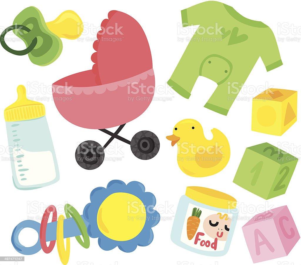 online store ea486 23c9e Süßes Babysachen Set Stock Vektor Art und mehr Bilder von ...