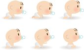 Vector illustration - Cute Baby Sucking On Pacifier, Crawling And Sitting.