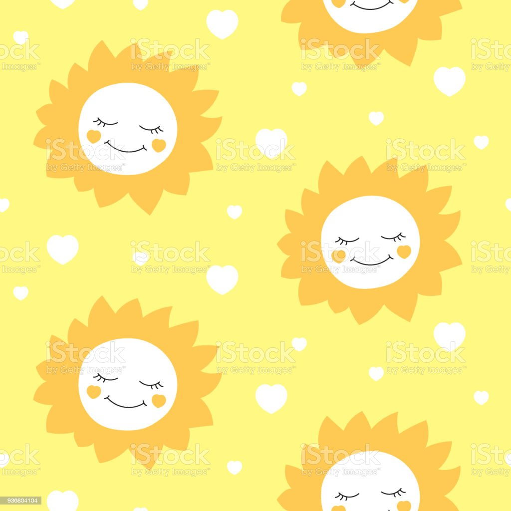 Cute Baby Sun Pattern Vector Seamless Children Print With Happy And Hearts On Yellow