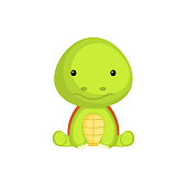 Cute baby turtle sitting isolated on white background. Adorable animal character for design of album, scrapbook, card, invitation on baby shower, party. Flat cartoon colorful vector illustration.