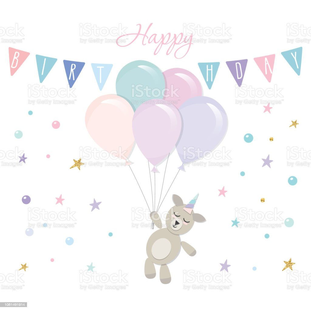 Cute Baby Unicorn Birthday Card Template Vector Illustration Stock
