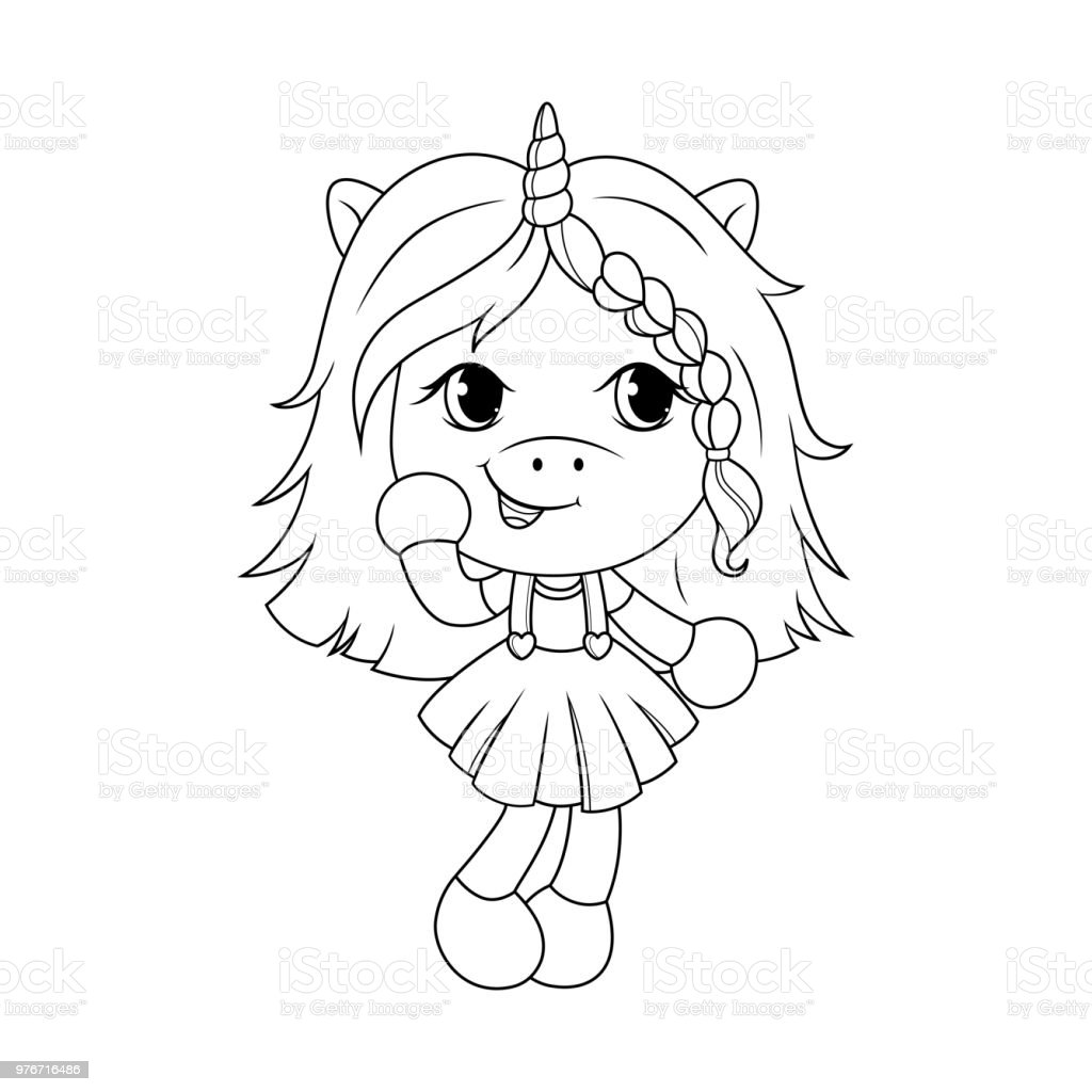 Cute Baby Unicorn Coloring Page For Girls Vector Stock