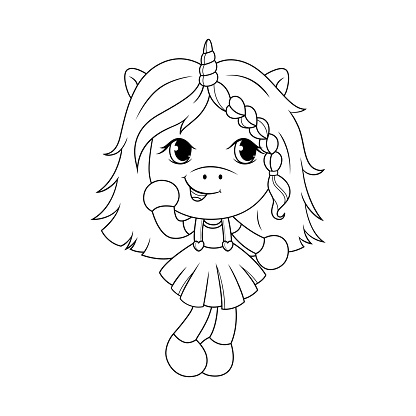 Cute Baby Unicorn Coloring Page For Girls Vector Stock ...