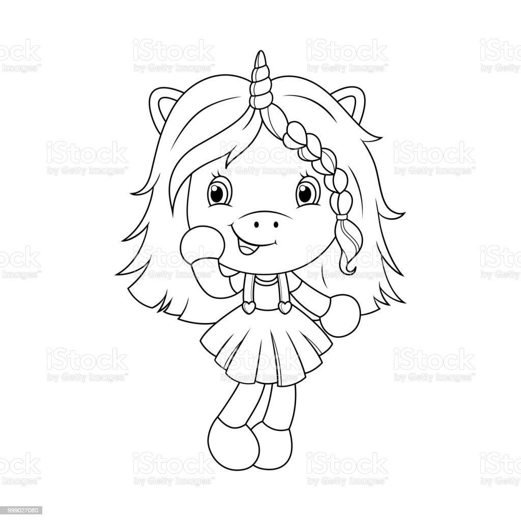 şirin Bebek Tek Boynuzlu At Boyama Sayfası Kızlar Için Vektör Stok