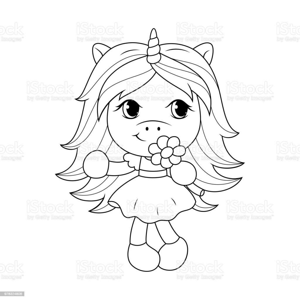 Cute Baby Unicorn Holding Flower Coloring Page For Girls ...