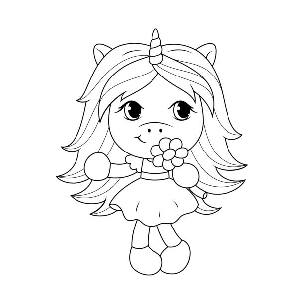 cute baby unicorn holding flower, coloring page for girls. vector. - unicorn line drawings stock illustrations, clip art, cartoons, & icons