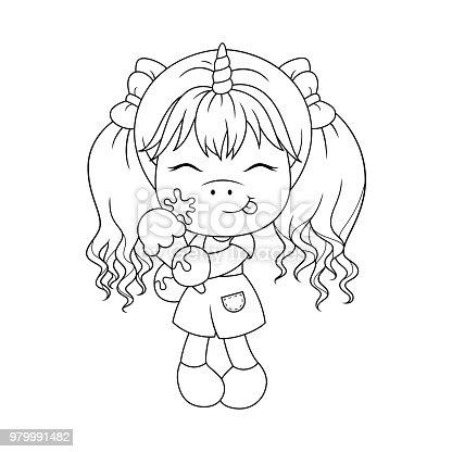 Ilustración de Lindo Bebé Unicornio Holding Helado Página Para ...