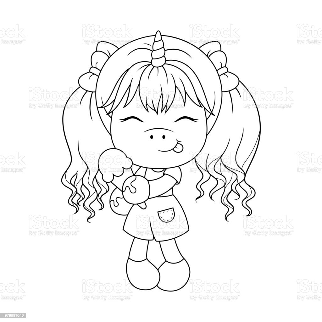 Cute Baby Unicorn Holding Ice Cream Coloring Page For Girls Vector Royalty