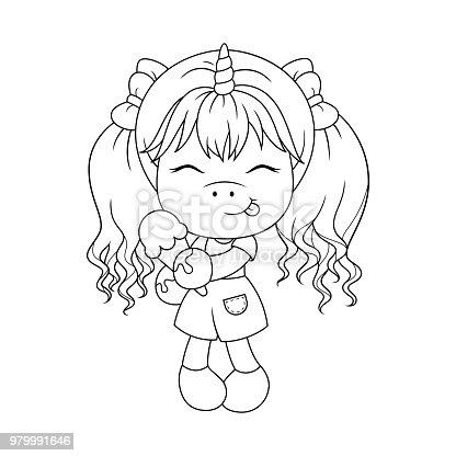 🔥 Imagen de Lindo bebé unicornio holding helado, página para ...