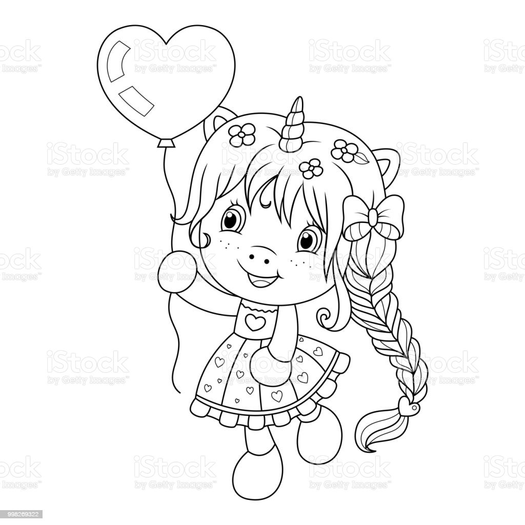 Cute Baby Unicorn Playing With Heart Shape Ballon Coloring Page For ...