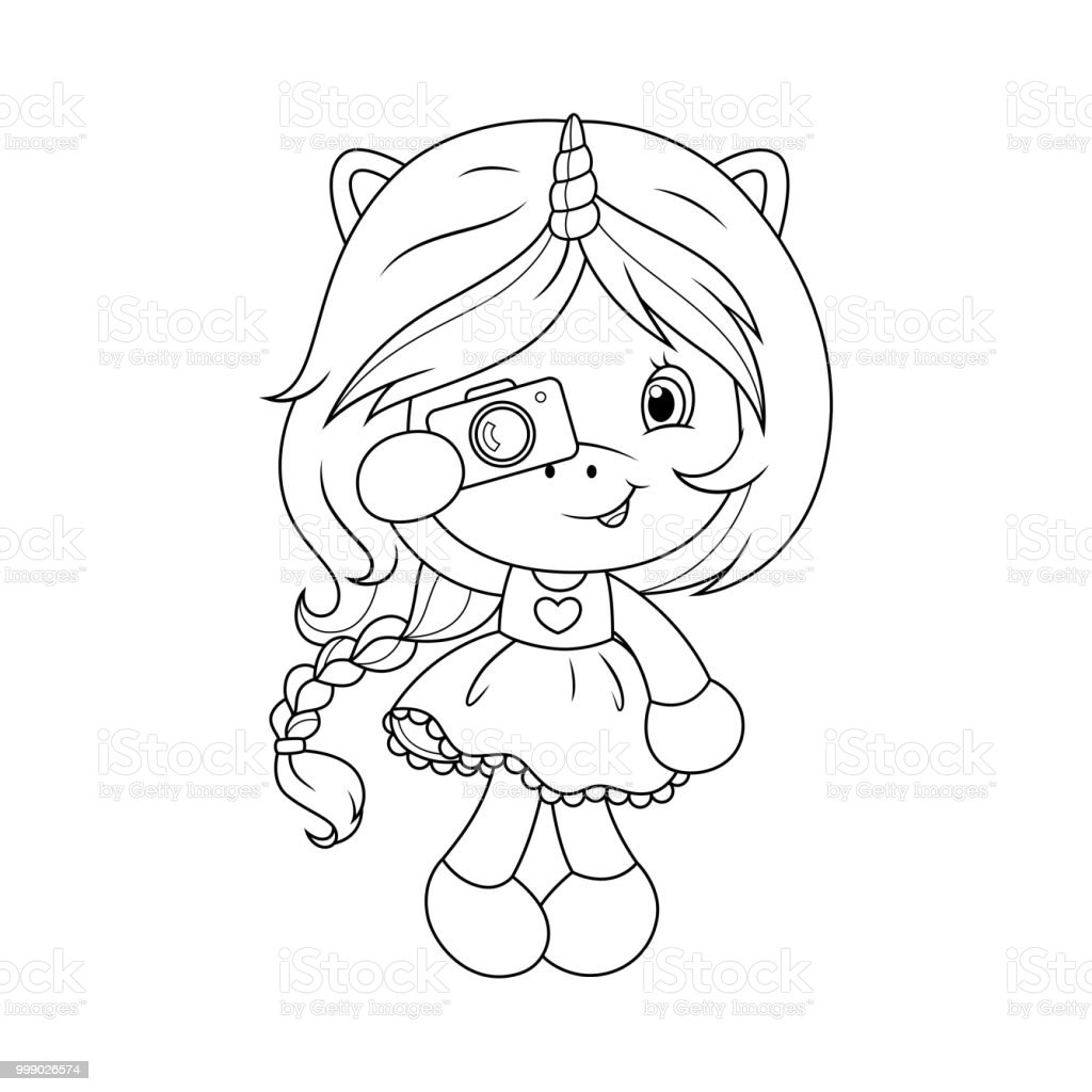 Cute Baby Unicorn With Camera Coloring Page For Girls Vector Stock