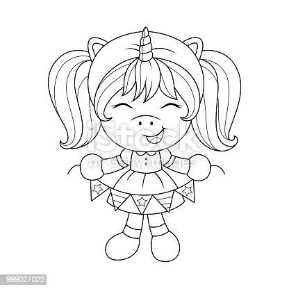 🔥 Imagen de Unicornio lindo bebé con guirnalda de papel, página ...