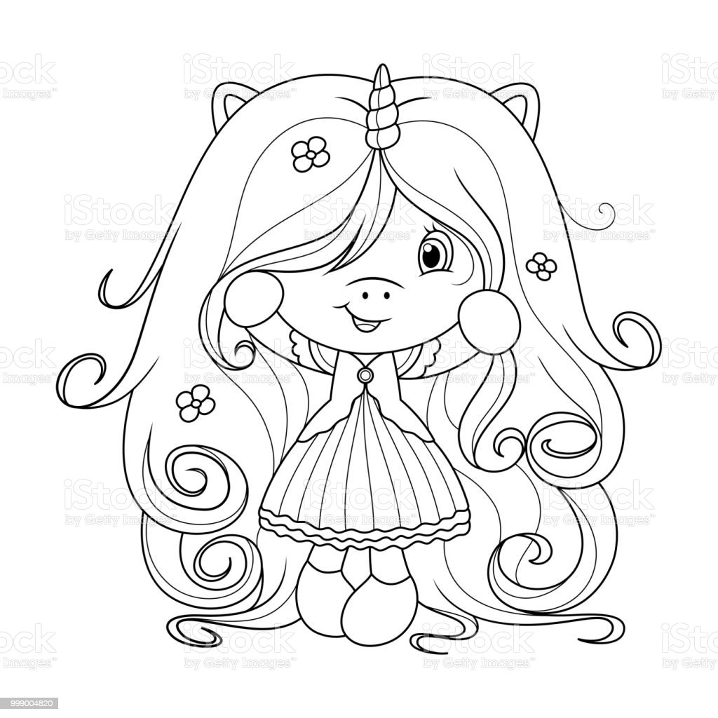 Cute Baby Unicorn With Super Long Hair With Flowers Coloring Page ...