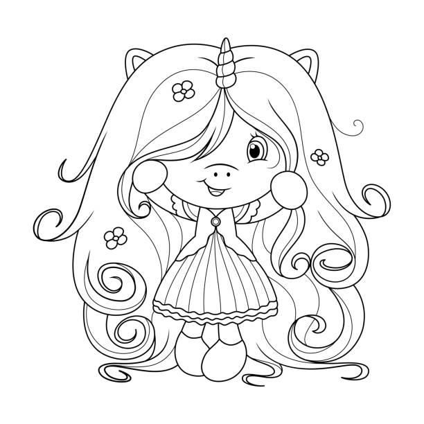 linda little pony colorear página para niños vectores
