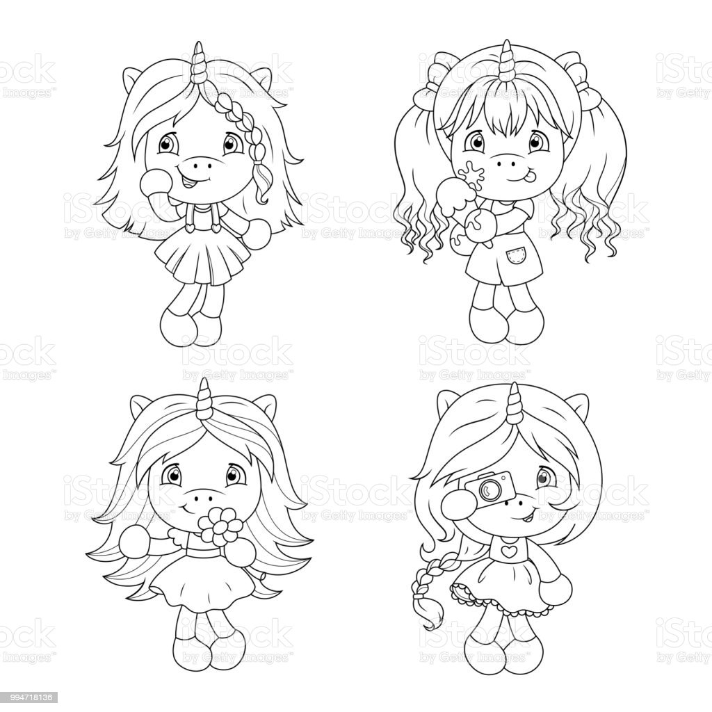Ilustración de Unicornios De Lindo Bebé Página Para Colorear Para ...