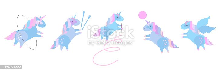 Cute plump unicorns in rhythmic gymnastics. Set of beautiful pony doing rhythmic gymnastics with ribbon, ball, hoop, skipping rope. Flat cartoon style illustration on color magenta background