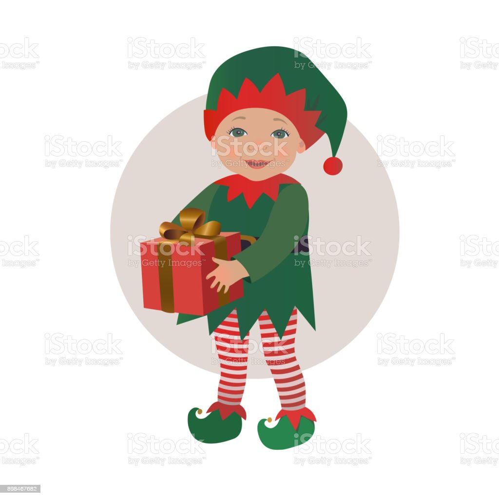 Cute Baby Wearing Christmas Elf Costume Holding Gift Box Stock ...