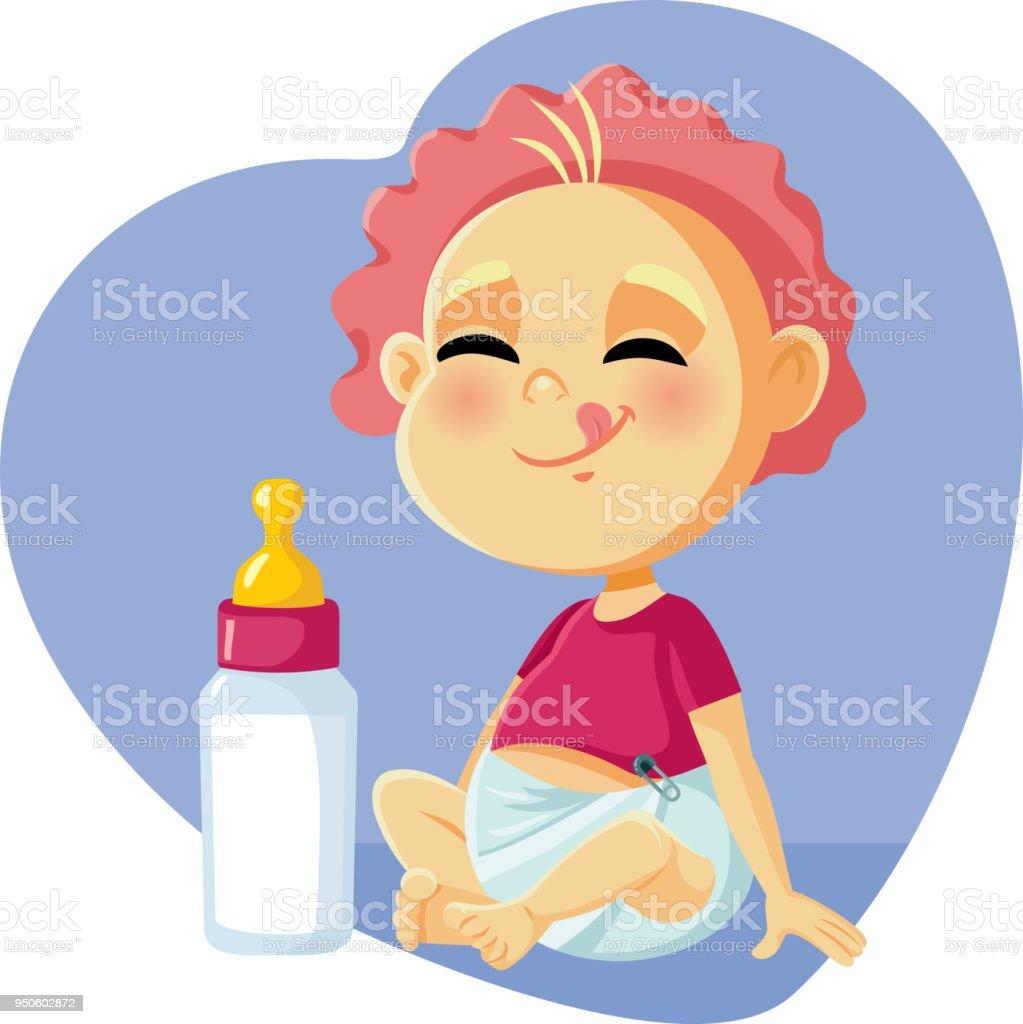 Cute Baby with Milk Bottle Vector Cartoon