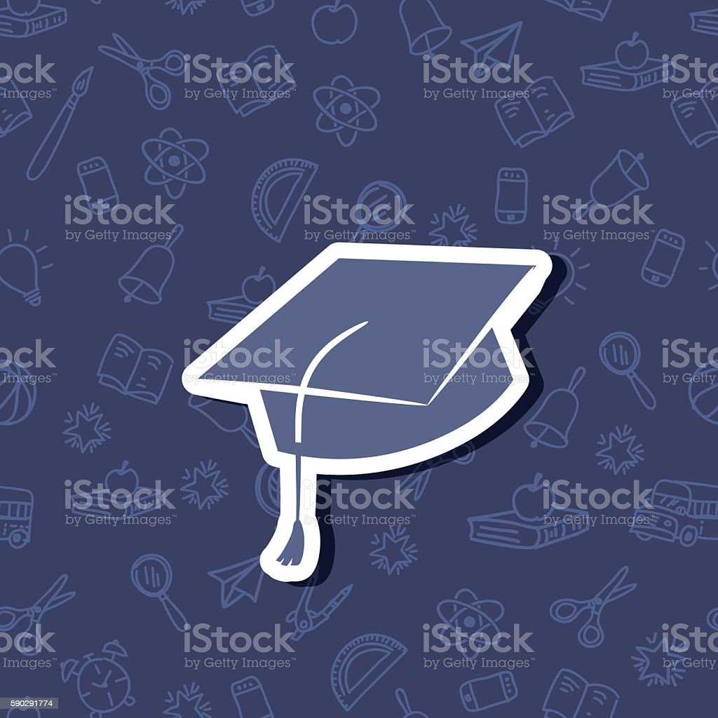 Cute Back To School Sticker Icon With pattern Background royaltyfri cute back to school sticker icon with pattern background-vektorgrafik och fler bilder på akademikermössa