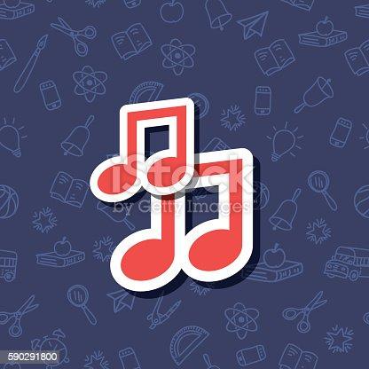 Cute Back To School Sticker Icon With Pattern Background-vektorgrafik och fler bilder på Beskrivande färg 590291800